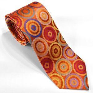 Orange Multi-color Circles Lawrence Ivey Silk Tie